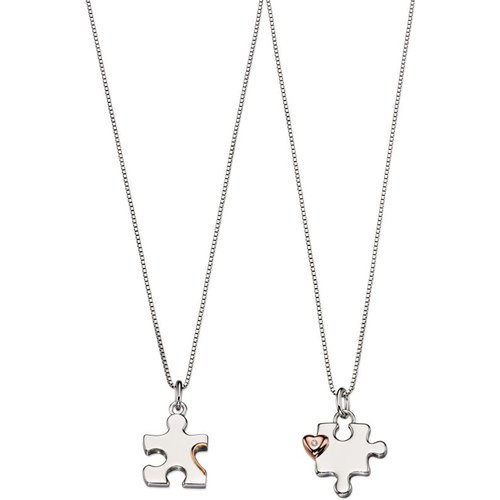 Bijoux enfant d for diamond mother & child puzzle collier set p4439